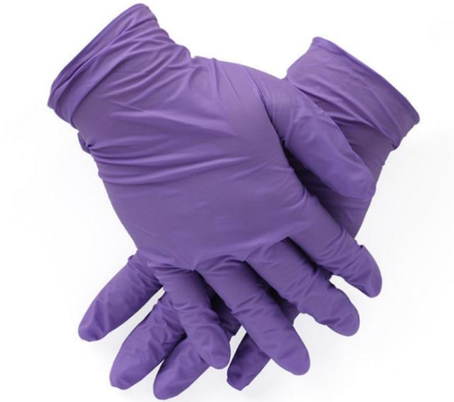 "8"" Purple Cleanroom Anti-Static ESD Nitrile Gloves"